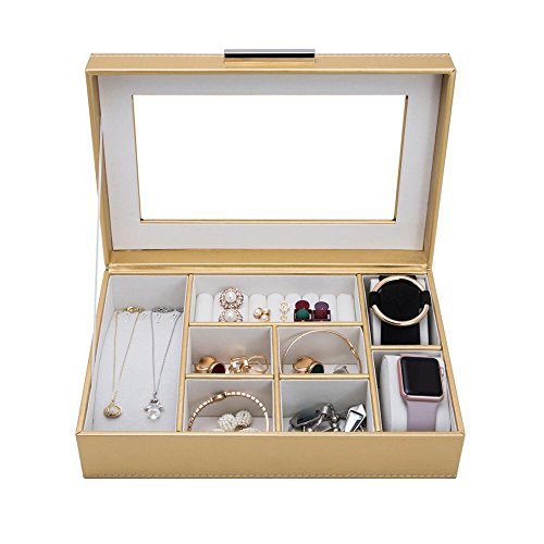 (4Queens Jewelry Box - Classic Jewelry Organizer Display Holder for Earring Ring Necklace Bracelet - PU Leather Golden)
