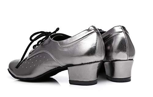 Danse Bloc De Uk Talons 5 Femmes Respirant Lacet Pour Chaussures Latine 5 Bas Minitoo Chaussure Gris zOEvqw