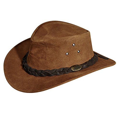 Jacaru Mens Gabba Oiled Nubuck Suede Outback Hat Tabac L