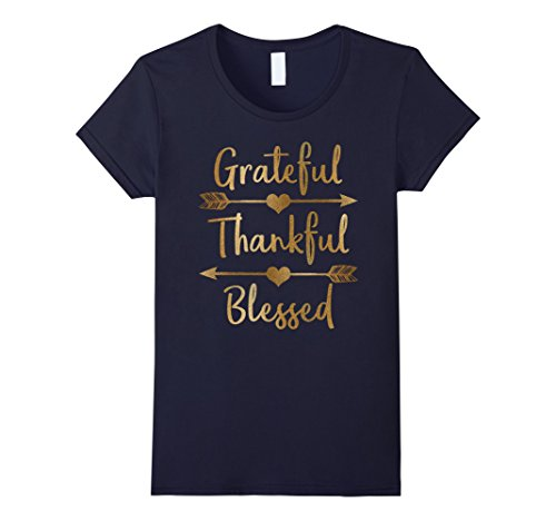 Blue Graphic Tee (Womens Gold Grateful Thankful Blessed Thanksgiving Shirt Small Navy)