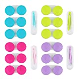12 Pack Colorful Contact Lens Case Holder,YuCool Cute Contact Lens Container Soak Storage Set with 4 Pack Portable Stick Tool Case Kit(Inserter+Tweezer with Soft Tip)-Green,Pink,Blue and Purple