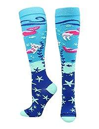 Half Cat Half Mermaid - Purrmaid Athletic Over the Calf Socks