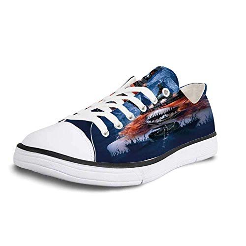Canvas Sneaker Low Top Shoes,Queen Queen of Death Scary Body Art Halloween Evil Face Bizarre Make Up Zombie Man 12]()