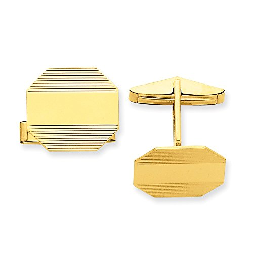 14k Yellow Gold Hexagonal Striped Cuff Links by CoutureJewelers