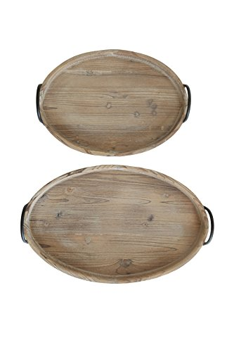 (Creative Co-op Round Decorative Wood Trays with Metal Handles (Set of 2 Sizes) )