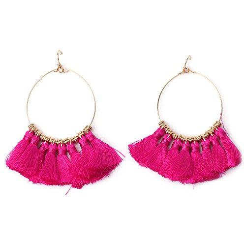 Diamond Circle Drop Pendant - NNDA CO 1 Pair Fashion Women Girls Charm Tassel Pendant Drops Earrings Alloy Circle Accessories (hot pink)