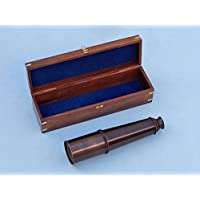 36 Bronze Spyglass Telescope w/ Rosewood Box / Nautical Home Decor / Coastal Living Decoration / Beach House Decor