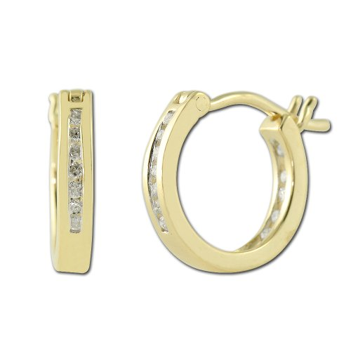 Diamond Inside Out Hoop Earrings 0.25 ct tw in 14K Yellow (0.25 Ct Tw Hoop)
