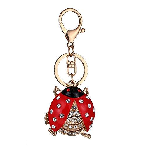 Cute Beetle Ladybug Keychain Sparkling Keyring Rhinestones Purse Pendant Handbag Charm (Ladybug Key Ring Keychain)