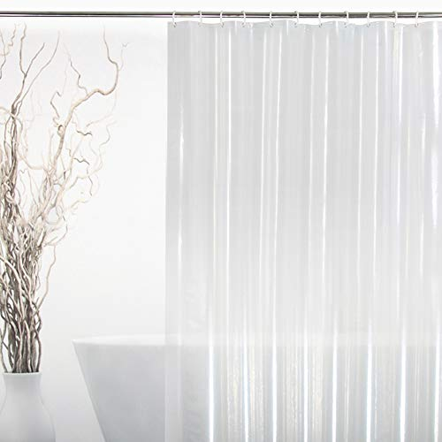 EurCross 96 Inch Wide Shower Curtain Liner Clear, Waterproof Heavy Duty Clear Shower Liner with 3 Magnets and 16 Plastic Hooks, Transparent, 96 X 72 Inch (Extra Wide Shower Curtain Liner)
