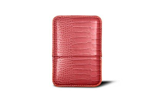 Calfskin Holder (Lucrin - Slot-in business cards holder - Pink Salmon - Crocodile style calfskin)
