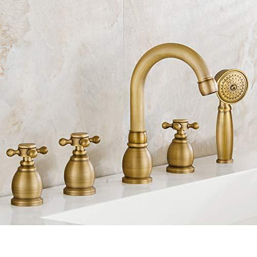 Faucets Antique Brass Deck 5 Holes Bathtub Mixer Faucet Handheld Shower Widespread Bathroom Faucet Set Water Tap (Color : Burgundy)