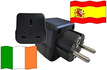 Adaptador de Viaje a España de Irlanda ES - IE Enchufe de Viaje España (Protección Contacto, 2200 Vatios): Amazon.es: Bricolaje y herramientas