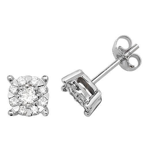Boucles d'oreilles 6,8mm diamant or blanc 9carats buyfinediamonds g-H I1-20,60ct