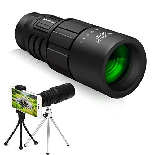Monocular Telescope, SGODDE 16x52 High Power Telescope,Dual Focus Monocular Scopes- Waterproof, Low Light Night Vision, BAK4 Prism Lens with Phone Clip&Tripod for Outdoor Bird Watching Hunting Hiking -