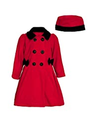 Good Lad Little Girls Black Red Side Bow Accent Hat Double Breasted Coat 4-6X