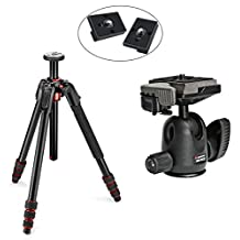 Manfrotto 190 Go! Aluminum 4 Section Tripod Kit with Manfrotto 494RC2 Ball Head with Quick Release and Two Replacement Quick Release Plates for the RC2 Rapid Connect Adapter