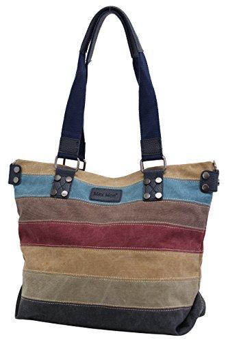 Bolso vaquero de mujer de rayas multicolores bolso de hombro Bolsos bandolera bolsa de lona lienzo JX-195 Azul