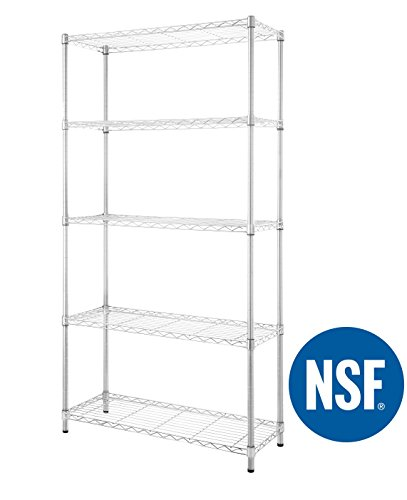 eeZe Rack ST-ETI001 HEAVY DUTY Steel Wire Chrome Shelving, Storage Rack, NSF CERTIFIED, 36x14x72-inches 5-Tier (Chrome) (NEW) - Commercial Wire