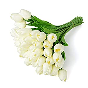 Zebery 30 pcs Real-Touch Artificial Tulip Flowers Home Decorations for Wedding Party or Birthday Garden Bridal Bouquet Flower Saint Party Event 100