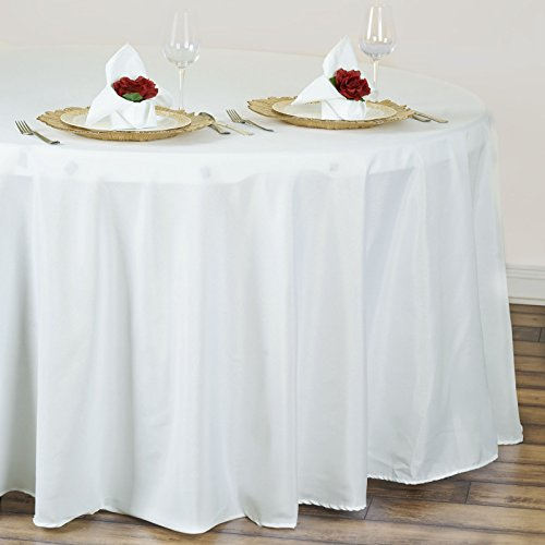 "BalsaCircle 120"" Round Polyester Tablecloth Wedding Table Linens - Ivory"