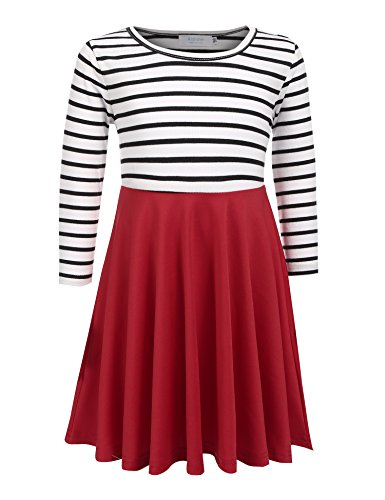 Arshiner Kids Girl O-Neck Long Sleeve Cute Striped A-Line Dress,120(Age for 6-7Y),Red