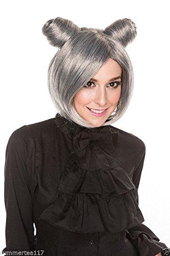 [Halloween Hunger Games Sexy Women Fashion Cosplay Wig Chun Li Gray Short H0007S] (Chun Li Wig)