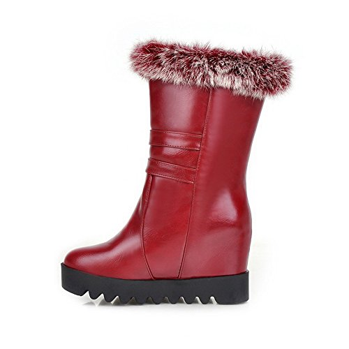 High Women's Blend Red Allhqfashion top Materials Heels Toe Round Boots Mid Afq5n5Sx7w