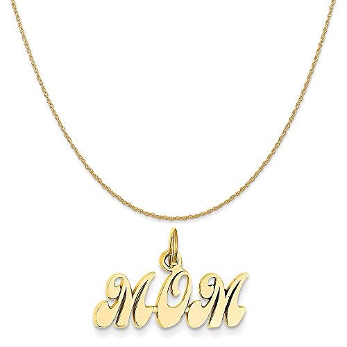 14k Yellow Mom Gold Charm (14k Yellow Gold Mom Charm on a 14K Yellow Gold Rope Chain Necklace, 18