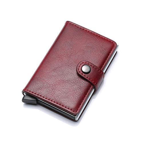 (RISUP Credit Card Holder RFID Blocking Wallet Slim Wallet Genuine Leather Vintage Aluminum Business Card Holder Automatic Pop-up Card Case Wallet Security Travel Wallet (Burgundy) )
