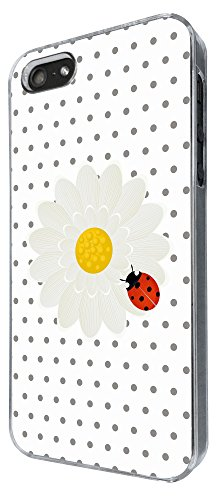 639 - Floral Shabby Chic Daisy ladybug Design iphone 5 5S Coque Fashion Trend Case Coque Protection Cover plastique et métal