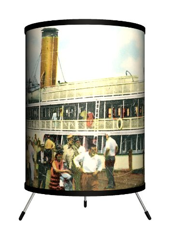 Lamp-In-A-Box TRI-TRV-NEWBI Travel New Harbor, Block Island Postcard Tripod Lamp, 8'' x 8'' x 14'' by Lamp-In-A-Box