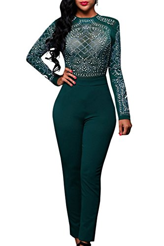 Pretid Women Sexy Long Sleeve Rhinestone Embellished Slim Bodycon Jumpsuit