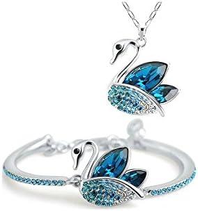 Parure Bijoux Collier et Bracelet Cygne SWAROVSKI ® ELEMENTS ...