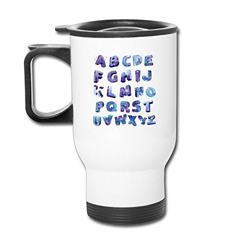 ZOENA Blue Catoon Alphabet Travel Mug Milk Mug