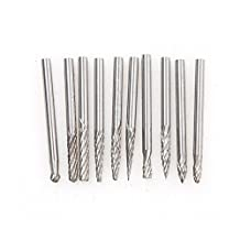 Atoplee 10pcs 3*3mm Tungsten Carbide Cutter Rotary Burr Set CNC Engraving Bit for Dremel Rotary Tool