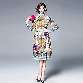Y&D Vintga Casual Dress For Women with Floral Pattern Knee Length Multi Color-XL