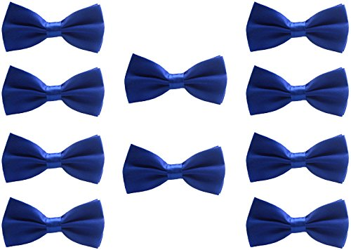 Udres Men Formal Tuxedo 10 Pack Solid Color Satin Bow Tie Classic Pre-Tied Bowtie (One Size, Blue)