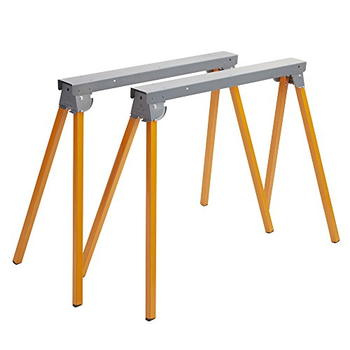 All Steel Folding Sawhorse - Pair BORA Portamate PM-3300T. TWO 33-Inch Tall Fold-up Heavy Duty Saw Horses. Fully Assembled, 1,000lb. Capacity (500lbs. each) and Quickly Folds Up for Easy Storage by PortaMate (Image #7)