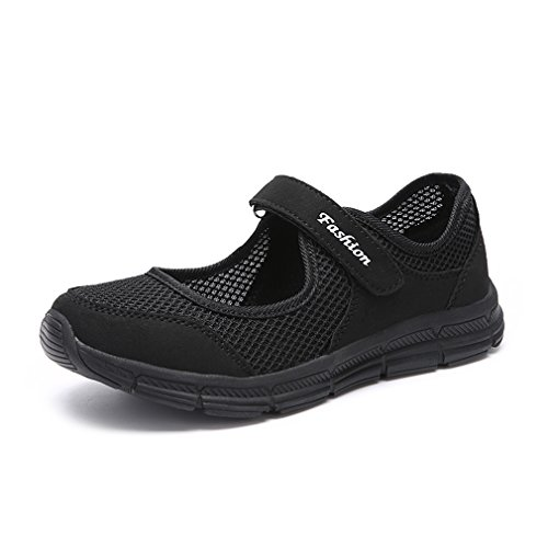 Performance Shoes Breathe Sneakers Jane Shoes on Shoes Mary Black Flat Walking Slip Casual CARETOO Womens Trainers IxOqwBOa