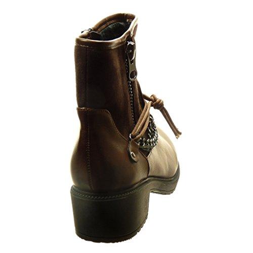 Angkorly - Chaussure Mode Bottine motard cavalier bi-matière femme chaïnes fermeture zip boucle Talon haut bloc 4 CM - Intérieur Fourrée - Marron
