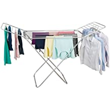 """mDesign Expandable Drying Rack with Bars - Collapsible Clothes Drying Rack - Accordion Drying Rack - Up to 68.3"""" - Folding Laundry Rack for Laundry Rooms - Polished Silver/Gray"""
