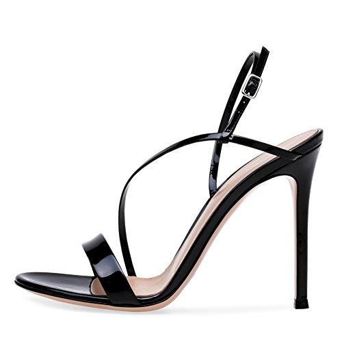 NVXIE Femmes Été Talon Talons Hauts Sandales Noir Cheville Ouvert Fête Noces Prom Soirée Chaussures Taille 35-46 black