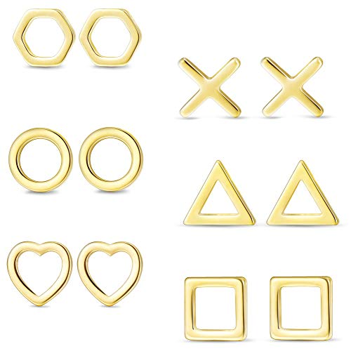 (Hanpabum 6 Pairs Stainless Steel Geometric Stud Earrings Triangle X Circle Square Heart Hexagon Tiny Earring Set for Women Men )