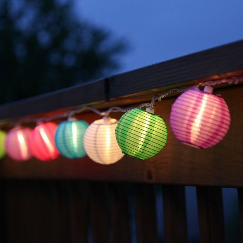 Set of 10 Multi Color Indoor/Outdoor Mini Oriental Style Nylon Lantern Plug-in String Lights, Water Resistant, For Indoor and Outdoor Use - Expandable to 150 Lights (Plug In Led Lantern compare prices)