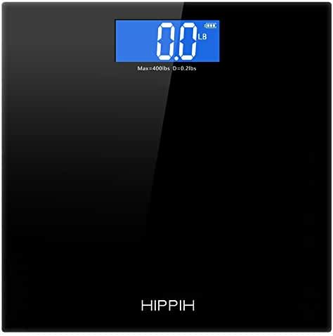Hippih 400lb / 180kg Electronic Bathroom Scale with Tempered Right Angle Glass Balance Platform and Advanced Step-On Technology, Digital Weight Scale has Large Easy Read Backlit LCD Display D-010