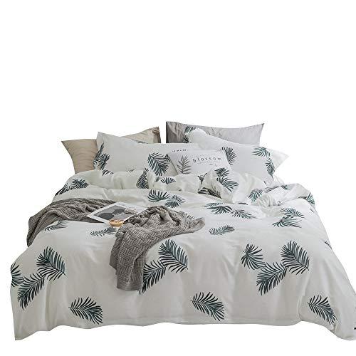 (OTOB Kids Elegant Duvet Cover Sets Twin Girls with Leaf Print Bed Set, Home Textile Teen Bedding Sets for Boys Adults Students Lightweight Children Bedding Duvet Cover Sets Cotton, Green)