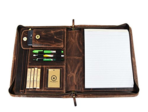 Premium Genuine Leather Business Portfolio and Professional Organizer, With a Zippered Closure,By Aaron Leather (Umber Brown) - Item Leather