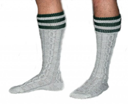 Long Embroidered German Lederhosen Cotton Socks Cream / Green