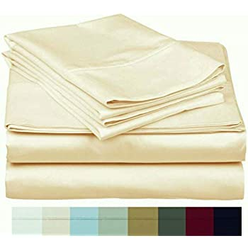 The Bishop Cotton 100% Egyptian Cotton 800 Thread Count 4 PC Solid Pattern Bed Sheet Set Italian Finish True Luxury Hotel Collection Fits Up to 16 Inches Deep Pocket (Queen, Ivory).